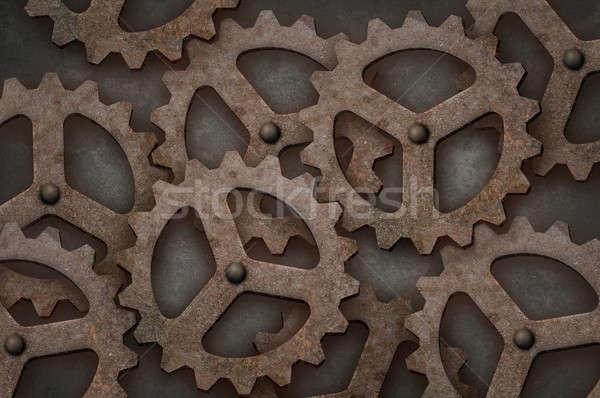 Distressed interlocking gears Stock photo © Balefire9