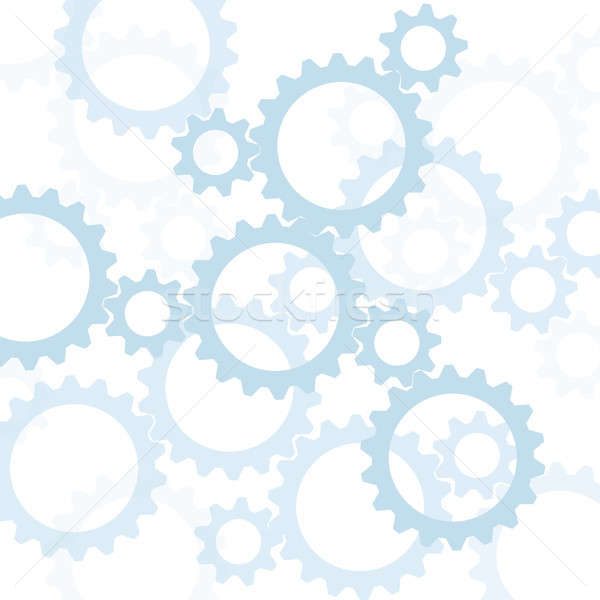 Blue gears silhouetted against white Stock photo © Balefire9