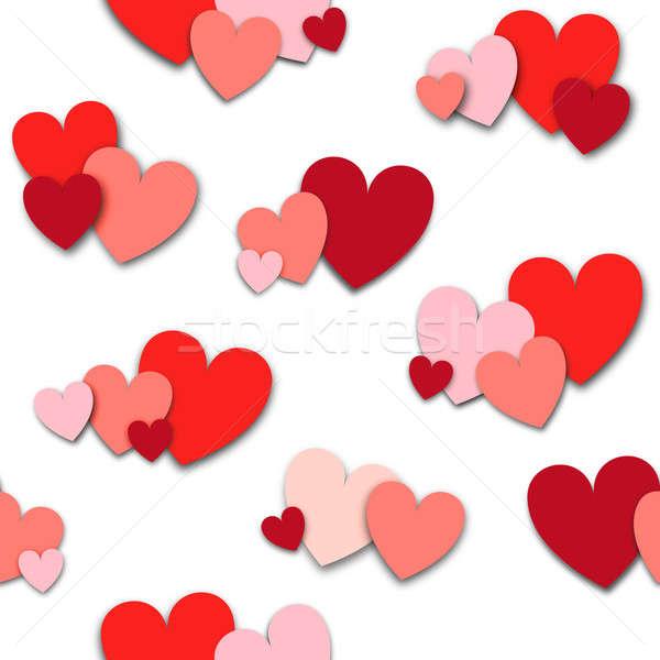 Mező rózsaszín piros szívek Stock fotó © Balefire9