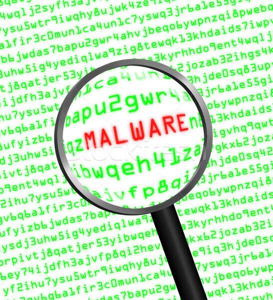 Lupą malware komputera kodu maszyny szkła Zdjęcia stock © Balefire9