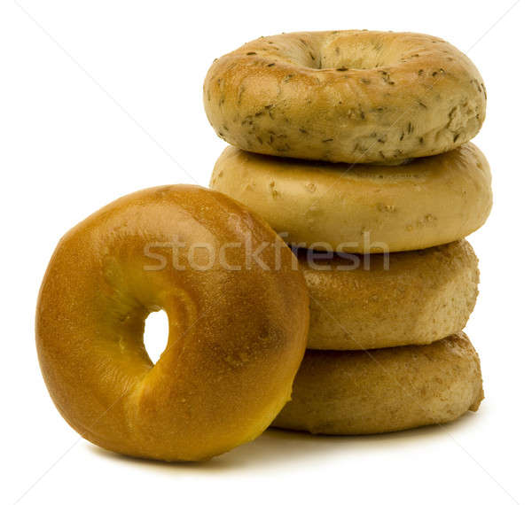 Stack of Four Bagels with OneLeaning on the Side Stock photo © Balefire9
