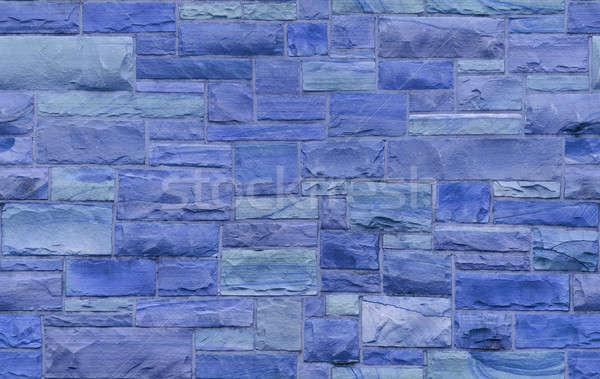Sem costura azul alvenaria parede tamanho retangular Foto stock © Balefire9