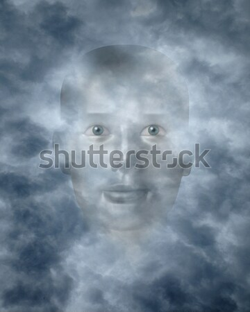 Stock photo: Spiritual faces peering through clouds
