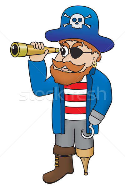 Cartoon illustration of pirate looking through a spyglass Stock photo © Balefire9