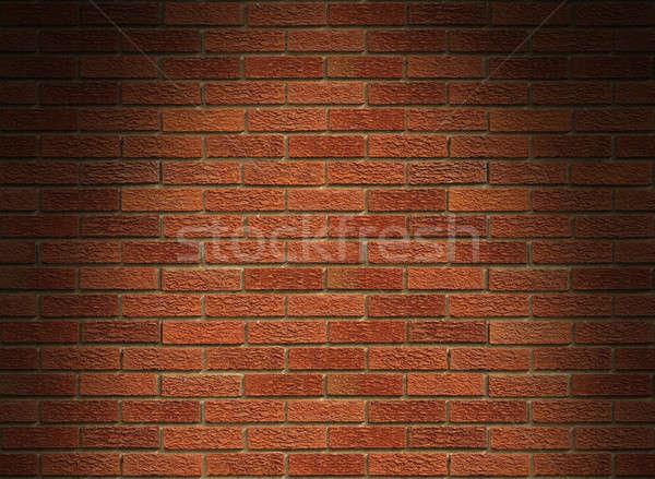 Foto stock: Vermelho · parede · de · tijolos · acima · horizontal