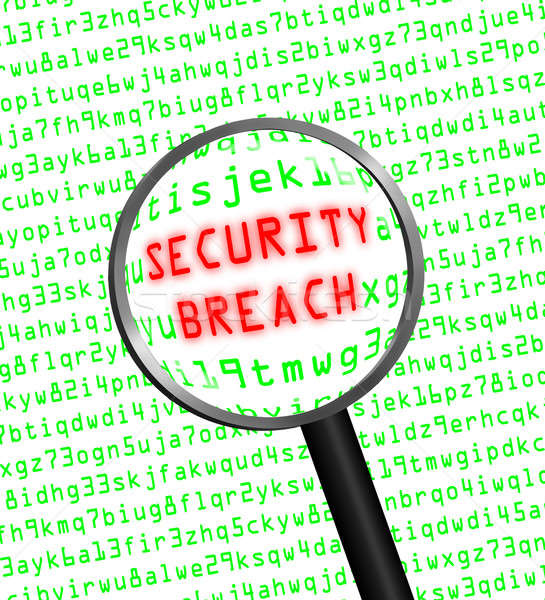 Red 'SECURITY BREACH' revealed in green computer code through a  Stock photo © Balefire9