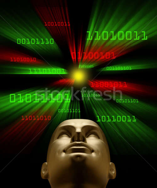 Artifical intelligence as symbolized by binary code flying towar Stock photo © Balefire9