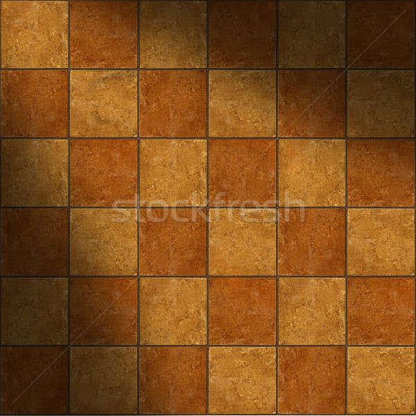 Section of ceramic two-tone brown stone tiles lit diagonally Stock photo © Balefire9