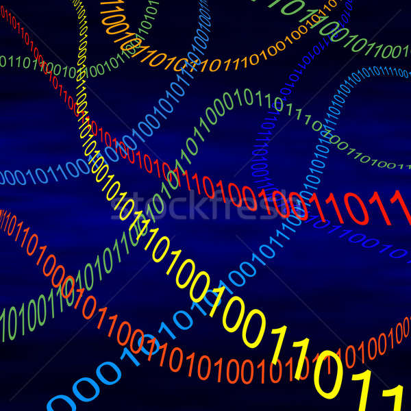 Multicolored steams of binary code flying through cyberspace Stock photo © Balefire9