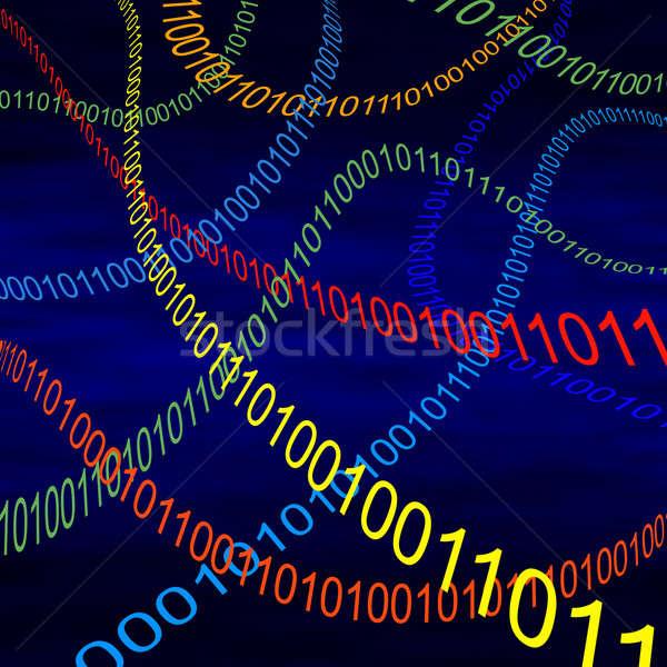 Código binário voador ciberespaço digital dados Foto stock © Balefire9