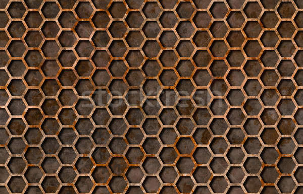 Rusty hexagon pattern grate texture seamlessly tileable Stock photo © Balefire9