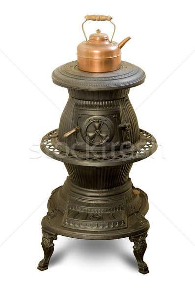 Antyczne żelaza piec miedź czajnik biały Zdjęcia stock © Balefire9