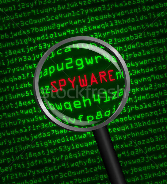 Magnifying glass locating spyware in computer code Stock photo © Balefire9