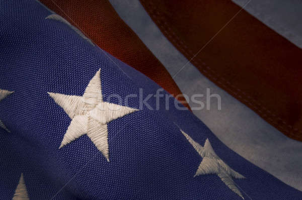 Stock photo: Closeup of a star on an America Flag