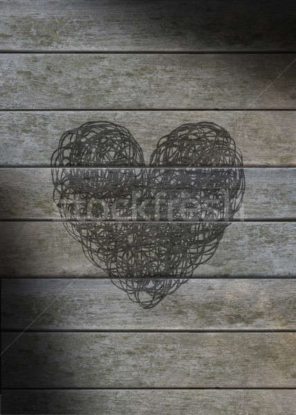 Heart scribbled on a gray weathered wood Stock photo © Balefire9