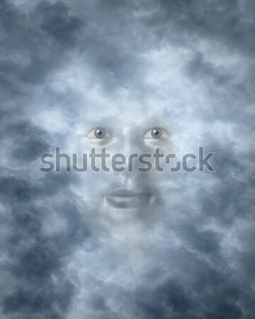 Spiritual faces peering through clouds Stock photo © Balefire9
