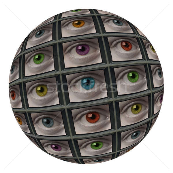 Sphere of screens with multi-colored eyes Stock photo © Balefire9