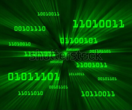Green bytes of binary code flying through a vortex Stock photo © Balefire9