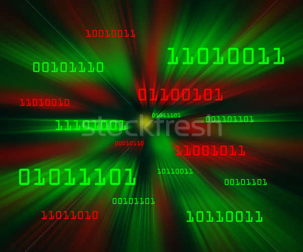 Red and green bytes of binary code flying through a vortex Stock photo © Balefire9