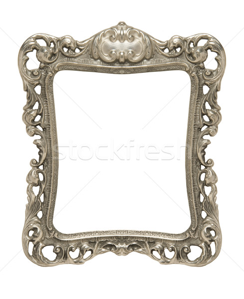 Ornate pewter picture frame silhouetted against white Stock photo © Balefire9