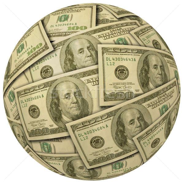Pénz labda 100 számlák gömb bankjegyek Stock fotó © Balefire9