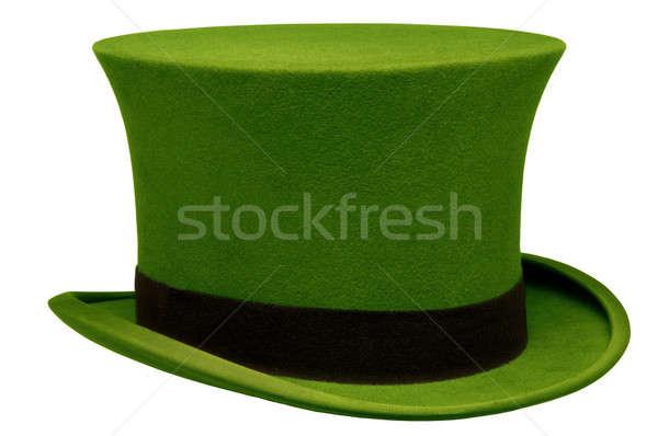 Klasszikus zöld felső kalap fehér divat Stock fotó © Balefire9