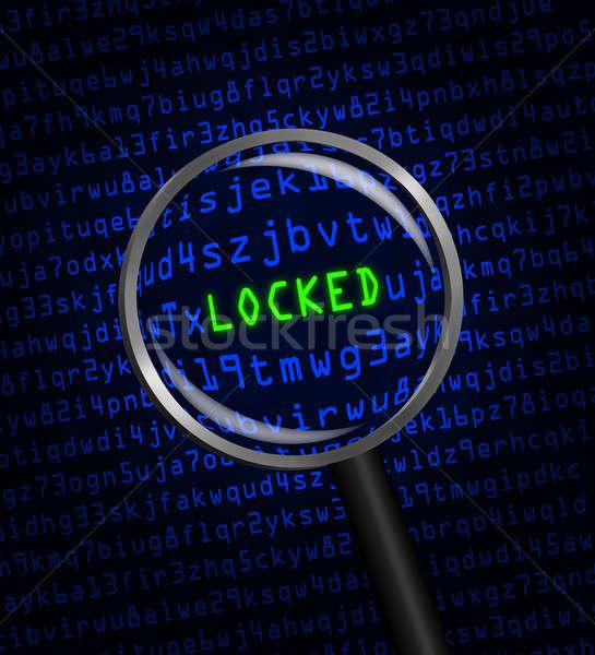 заблокированный компьютер Код увеличительное стекло слово зеленый Сток-фото © Balefire9