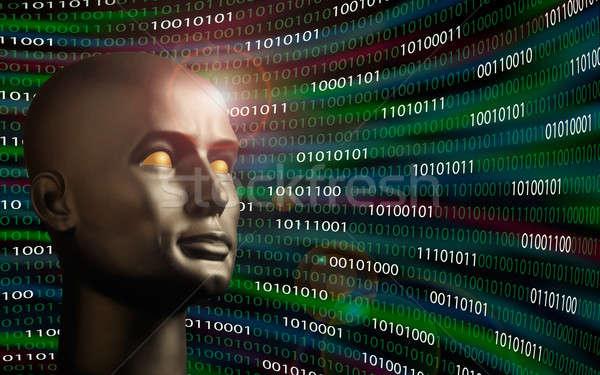 Mannequin testa codice binario computer Foto d'archivio © Balefire9