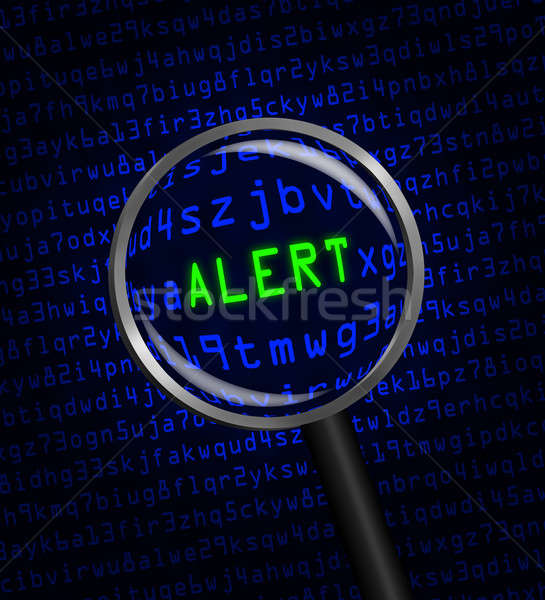 'ALERT' in green revealed in blue computer machine code through  Stock photo © Balefire9