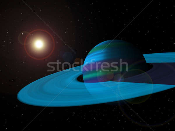 Blue Gas Giant Planet with Rings Stock photo © Balefire9