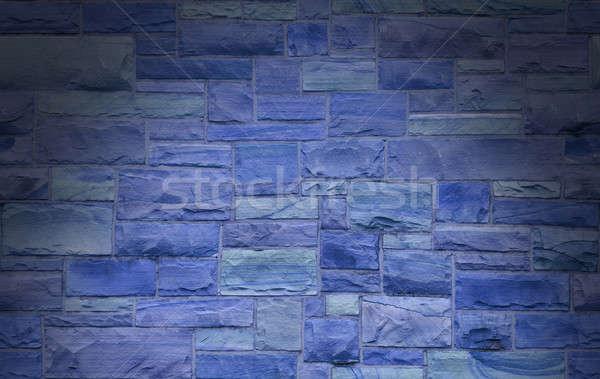 Niebieski kamieniarstwo ściany rozmiar prostokątny kamienie Zdjęcia stock © Balefire9