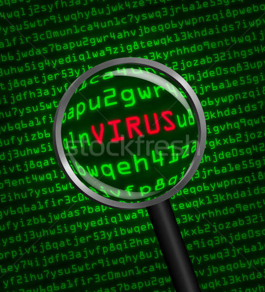 Magnifying glass locating a virus in computer code Stock photo © Balefire9