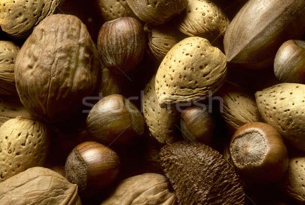 Választék fa diók mandulák mogyoró étel Stock fotó © Balefire9
