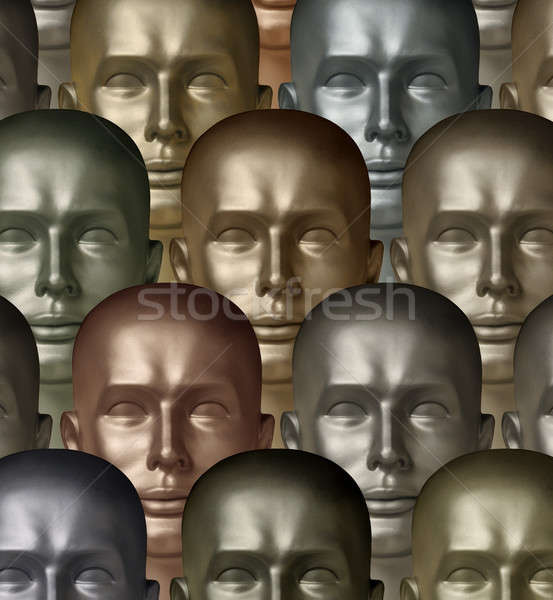 Metallic robot android heads of different metals symbolizing div Stock photo © Balefire9