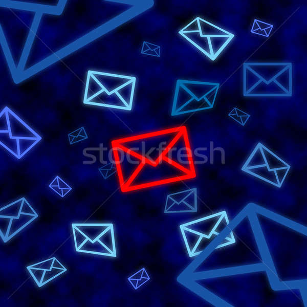 Email icon targeted by electronic surveillance in cyberspace Stock photo © Balefire9