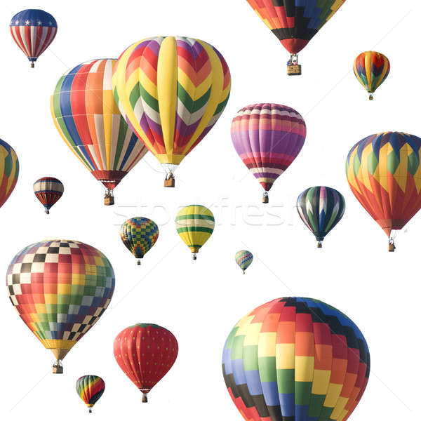 Colorful hot-air balloons floating against white Stock photo © Balefire9