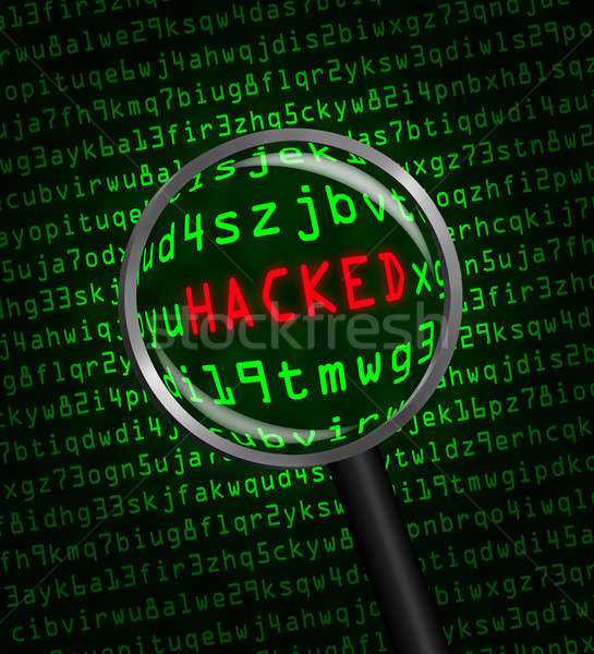 The red word 'HACKED' revealed in computer code through a magnif Stock photo © Balefire9