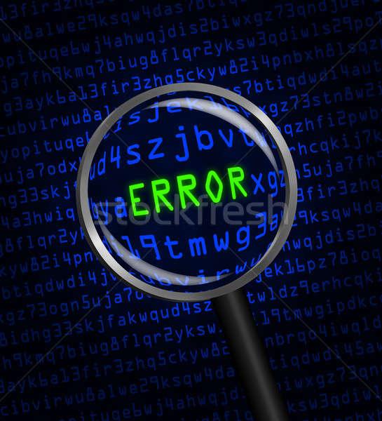 Foto stock: Erro · computador · código · lupa · palavra · verde