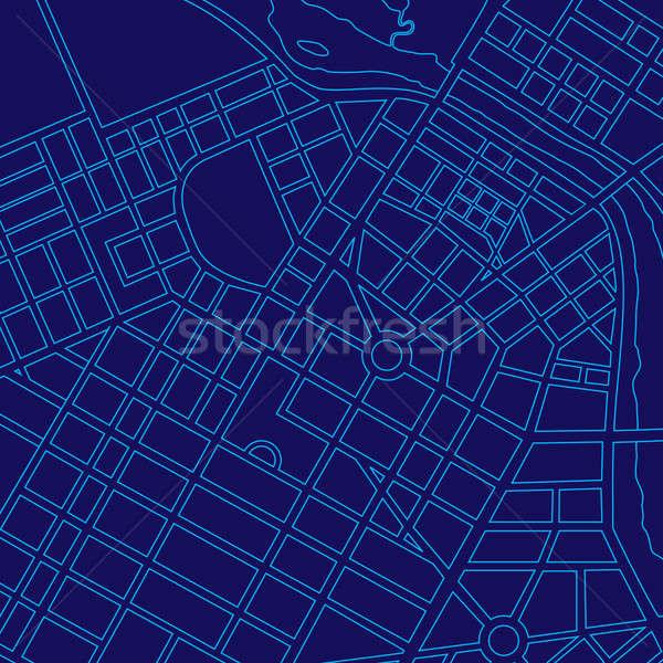 Blue digital map of a generic city Stock photo © Balefire9