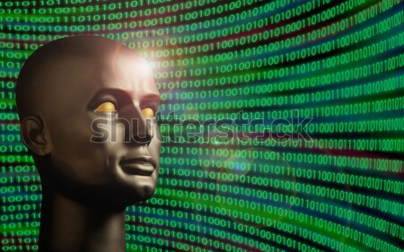 Robot android with human eyes in front of a field of binary code Stock photo © Balefire9