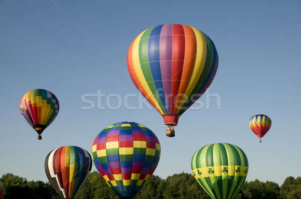 Hot-air balloons ascending or launching at a ballooning festival Stock photo © Balefire9