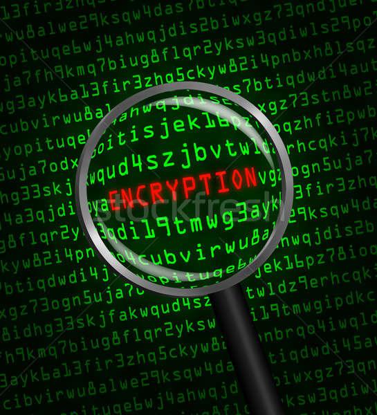 Titkosítás számítógép kód nagyító szó piros Stock fotó © Balefire9