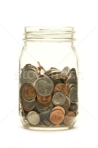 Foto d'archivio: Americano · monete · vetro · jar · bianco