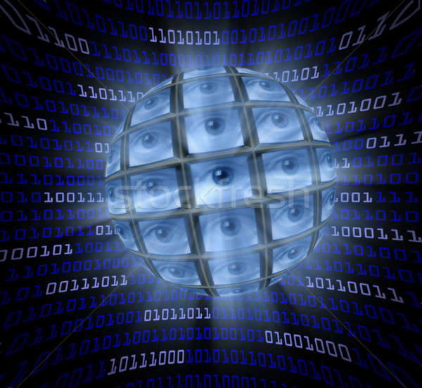 A sphere of monitors with eyeballs in a curved field of blue dig Stock photo © Balefire9