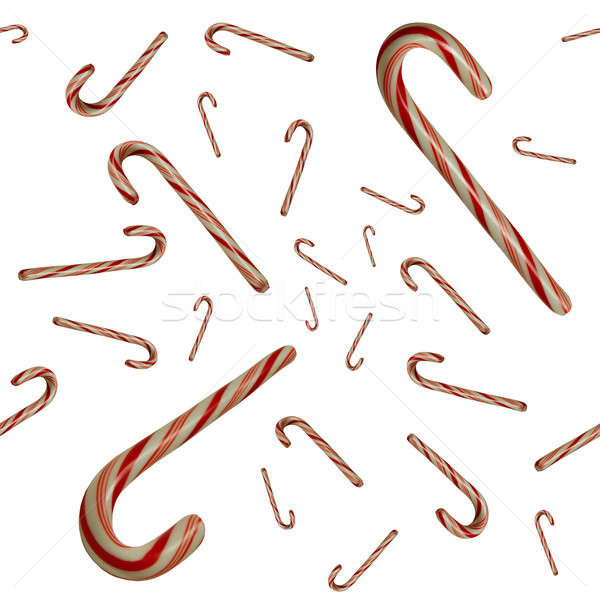 Floating Candy Canes Against White Seamlessly Tileable Stock photo © Balefire9