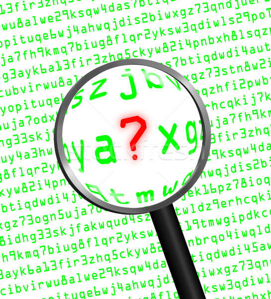 Question Mark revealed in computer code through a magnifying gla Stock photo © Balefire9