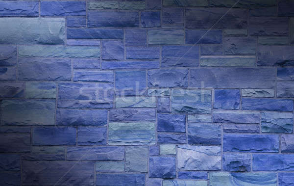 Bleu maçonnerie mur taille rectangulaire pierres Photo stock © Balefire9