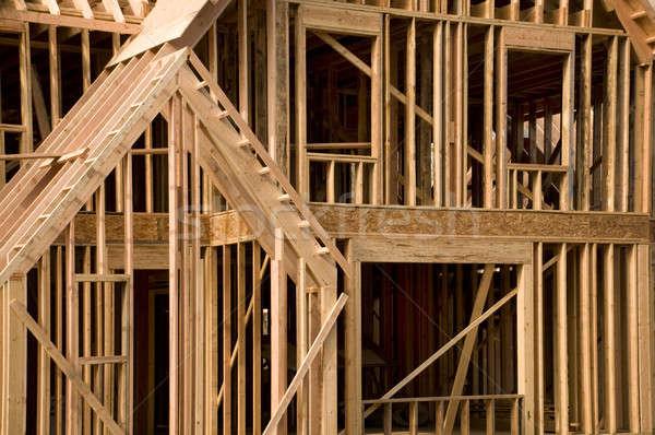 Ház építkezés részleg épület fa otthon Stock fotó © Balefire9