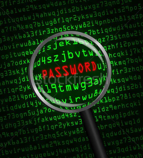 Wachtwoord computer code vergrootglas woord Rood Stockfoto © Balefire9