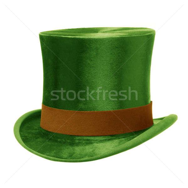 Stock fotó: Zöld · felső · kalap · barna · zenekar · izolált